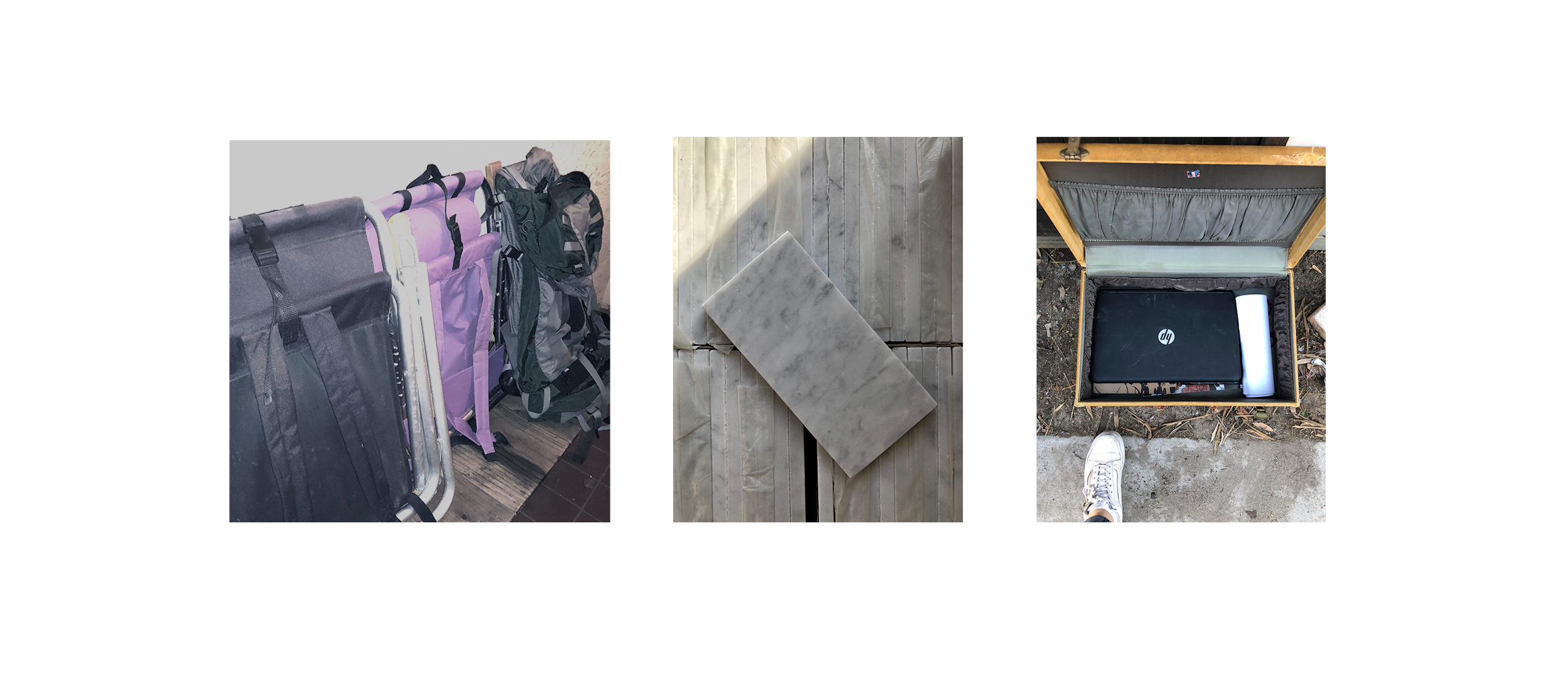 left to right: a $200  Osprey  Backpack broken but has a lifetime warrenty, a box of marble tiles, and antique suitcase with laptop and other items. The suitcase is perfect for  upcycled side table .