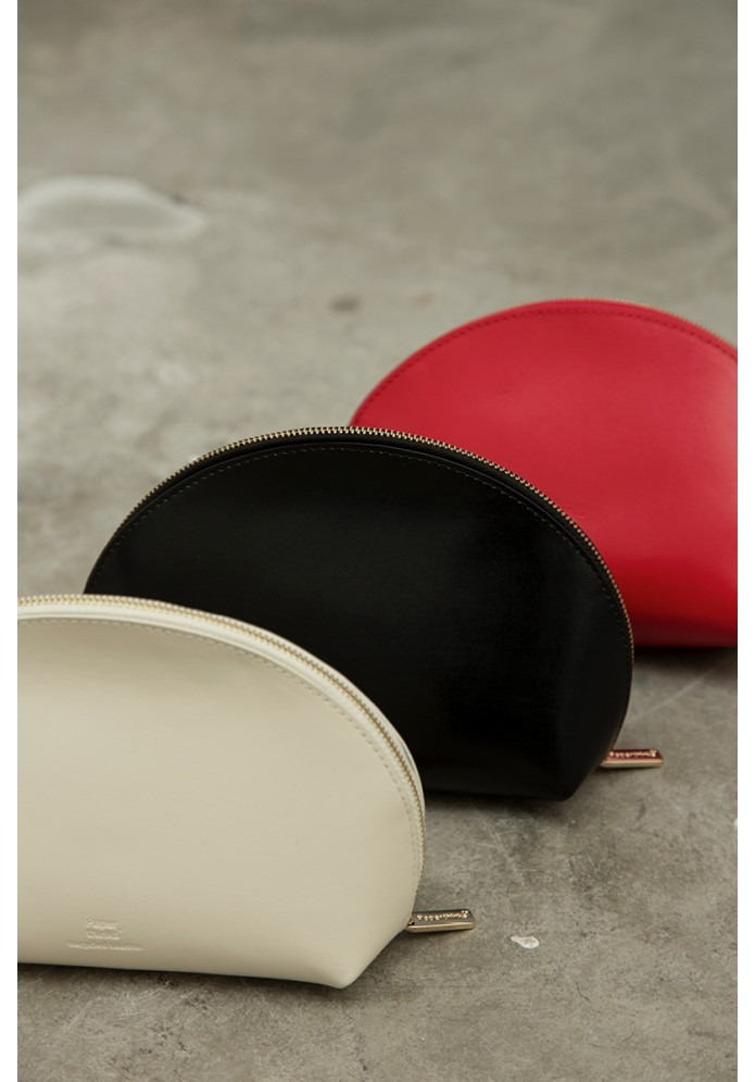 PAPERTHINKS   RECYCLED LEATHER COSMETIC POUCH SCARLET