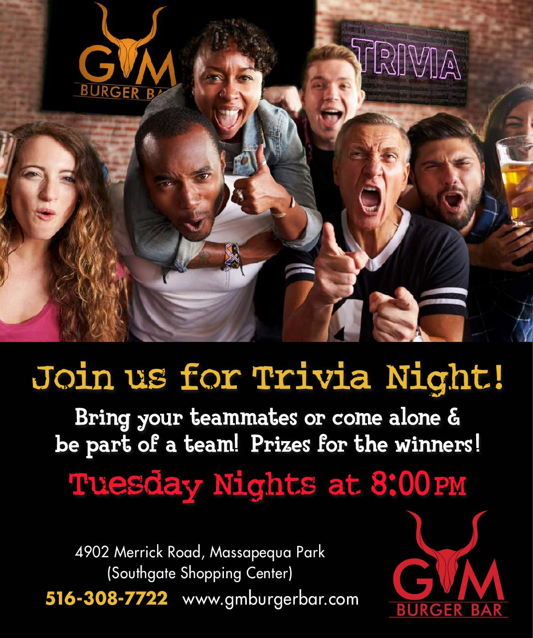 Join us for Trivia Night flyer, Tuesday nights at 8 PM