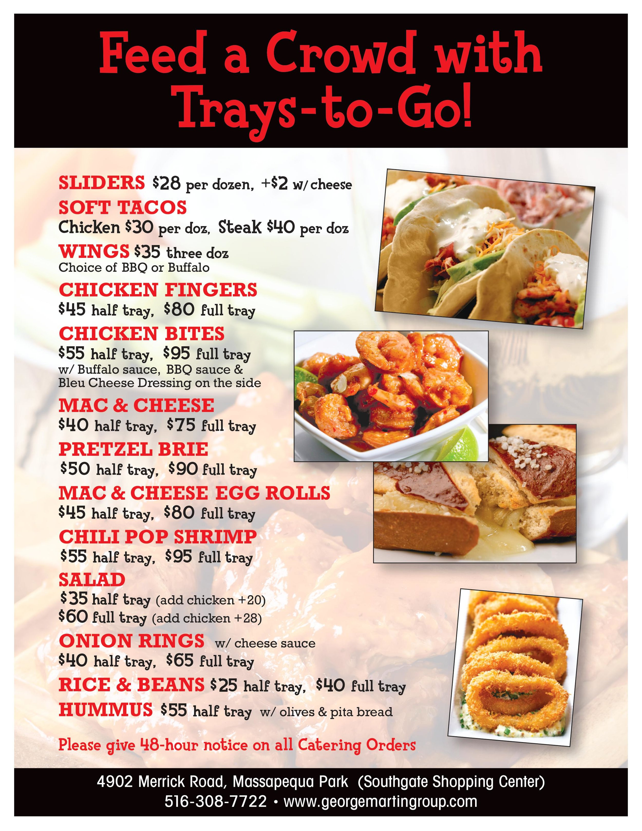 Feed a crowd with trays to go flyer, catering flyer and menu