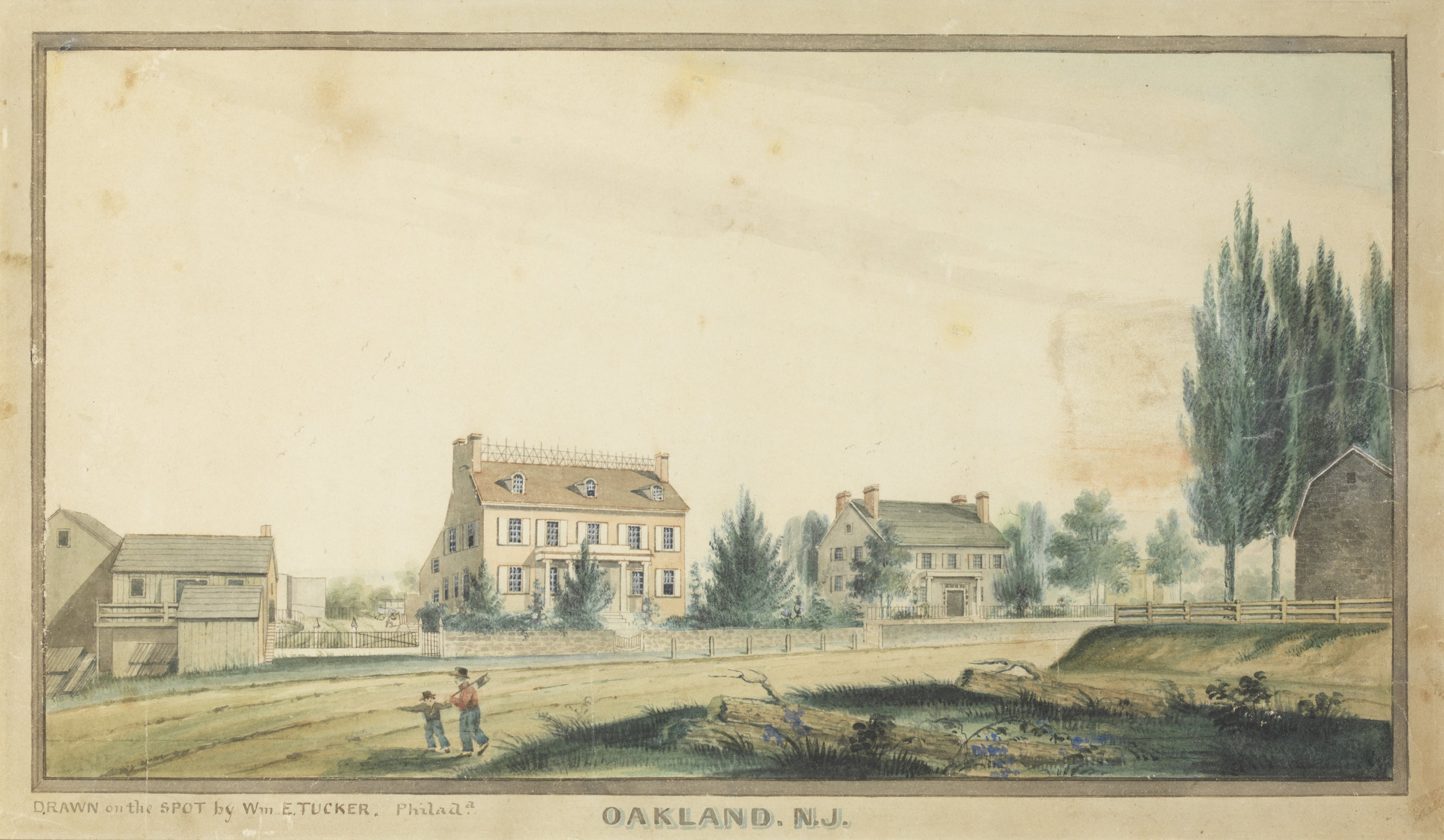 "Oakland, N.J. Between 1836 and 1848 ARTIST William E. Tucker (signed lower left, ""Drawn on the spot by Wm. E. Tucker, Philada.""). Pen and ink, and watercolor, on paper. 8 x 13½ in._80%2.jpg"