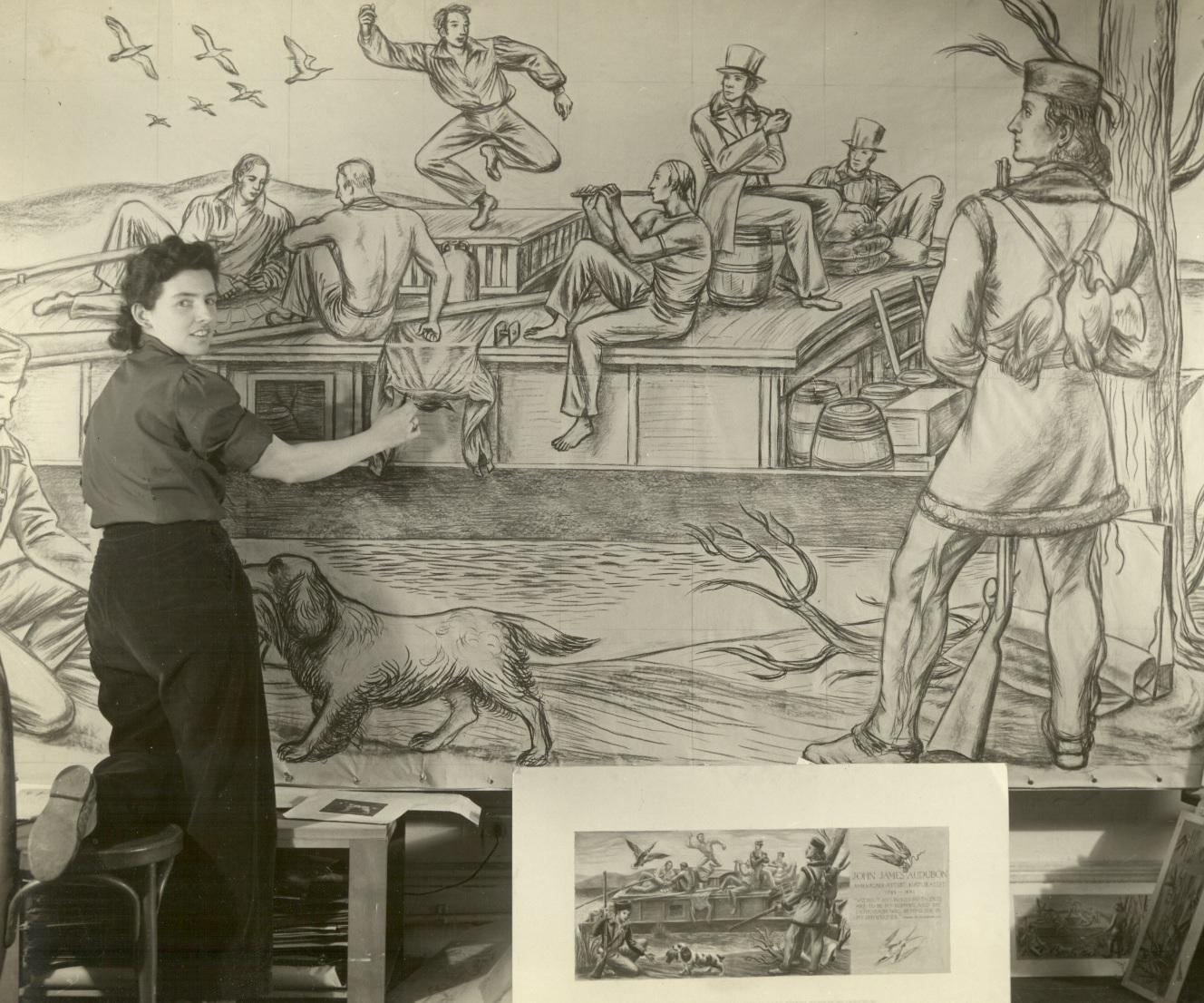 Snedeker and the mural,  Virginia Snedeker (1909–2000), May, 1942.