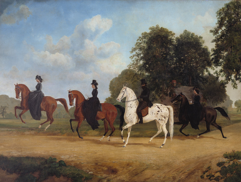 Equestrian Portrait of the Stockton Family,  c. 1865, Henry Collins Bishop