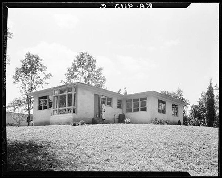 Model house nears completion in Hightstown, New Jersey, June 1936. Dorothea Lange (1895–1965), photographer. Retrieved from the Library of Congress