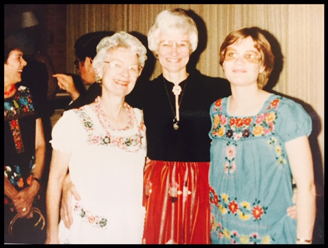 My mother is in the middle, wearing an embroidered skirt. My sister Laura is on her right in the traditional embroidered dress — she is going to literally kill me for posting this. Sorry, Laura, it was the only pic I had!