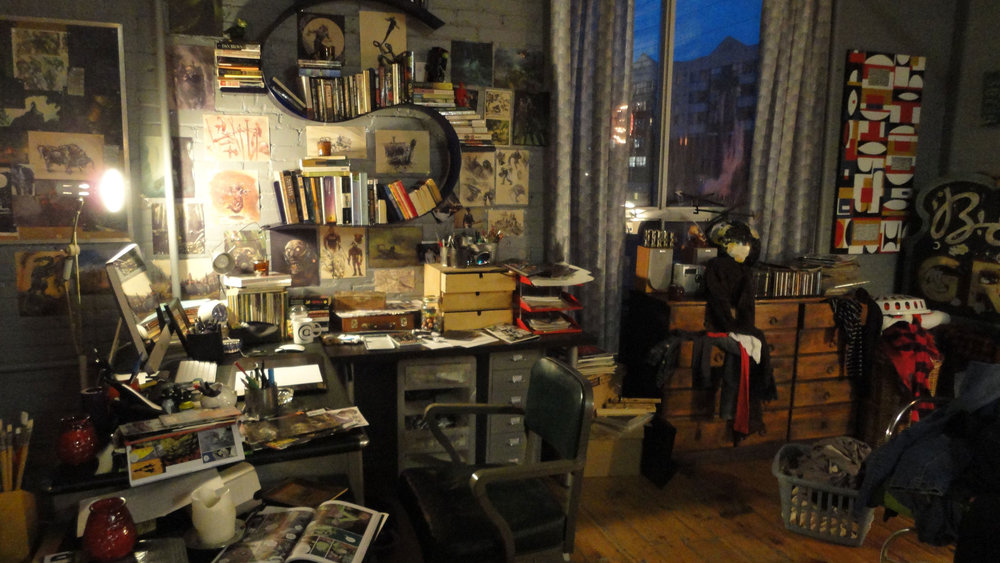 Lucas' illustrations can be seen in his studio, all of them done by Goran.