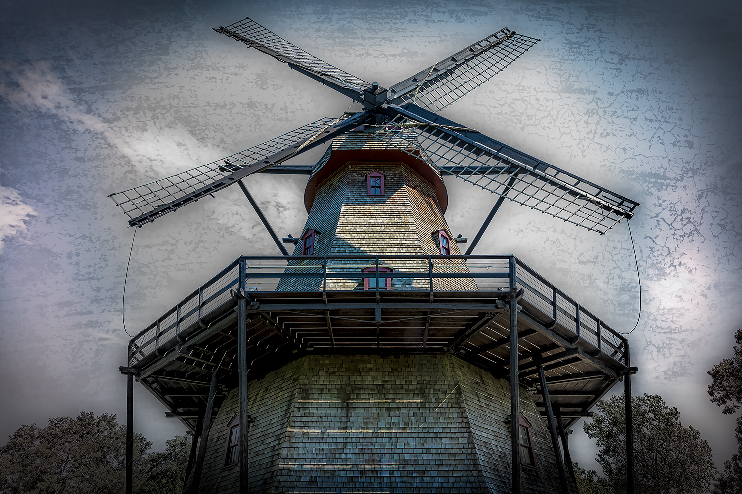 Old Fabyan Dutch Mill with interesting persective and texture treatment.