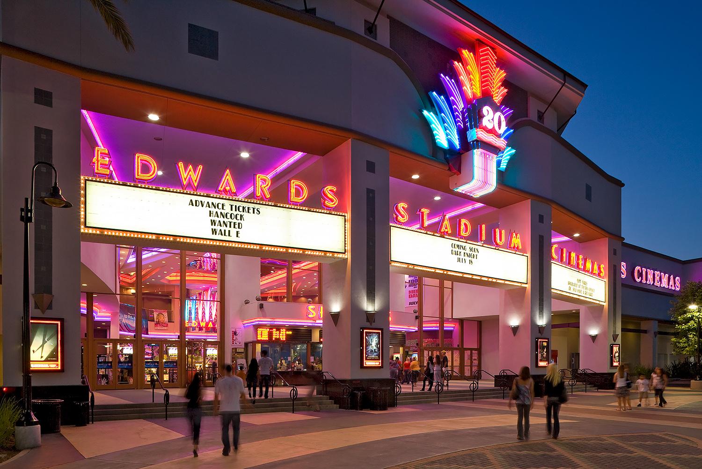 Edwards Cinemas at dusk with people