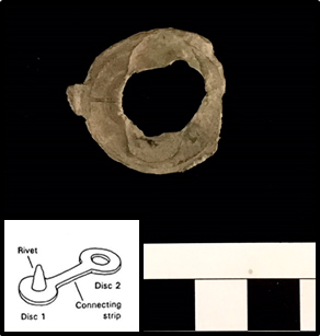 Lead Seal found at Cloverfields (Front)  Inset - Diagram of a single riveted cloth seal