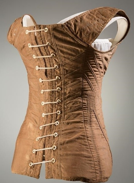 figure 2. early 19th century corset with bone grommets. the museum at the fashion institute of technology, ny. object no. 2009.1.1.