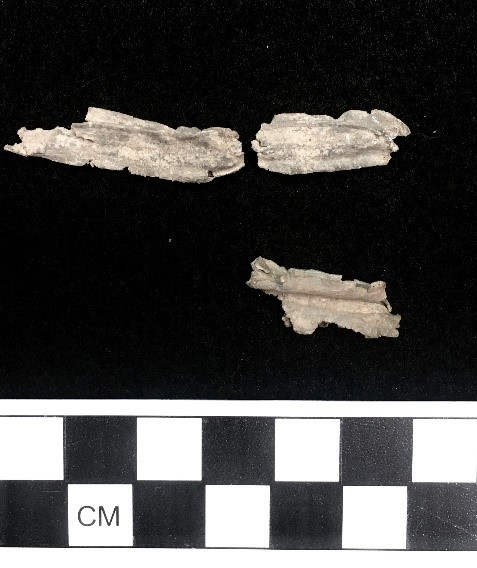 figure 2 - selected windown came fragments from cloverfields house excavations. top row: top view. bottom row: side view of middle section with mill marks.