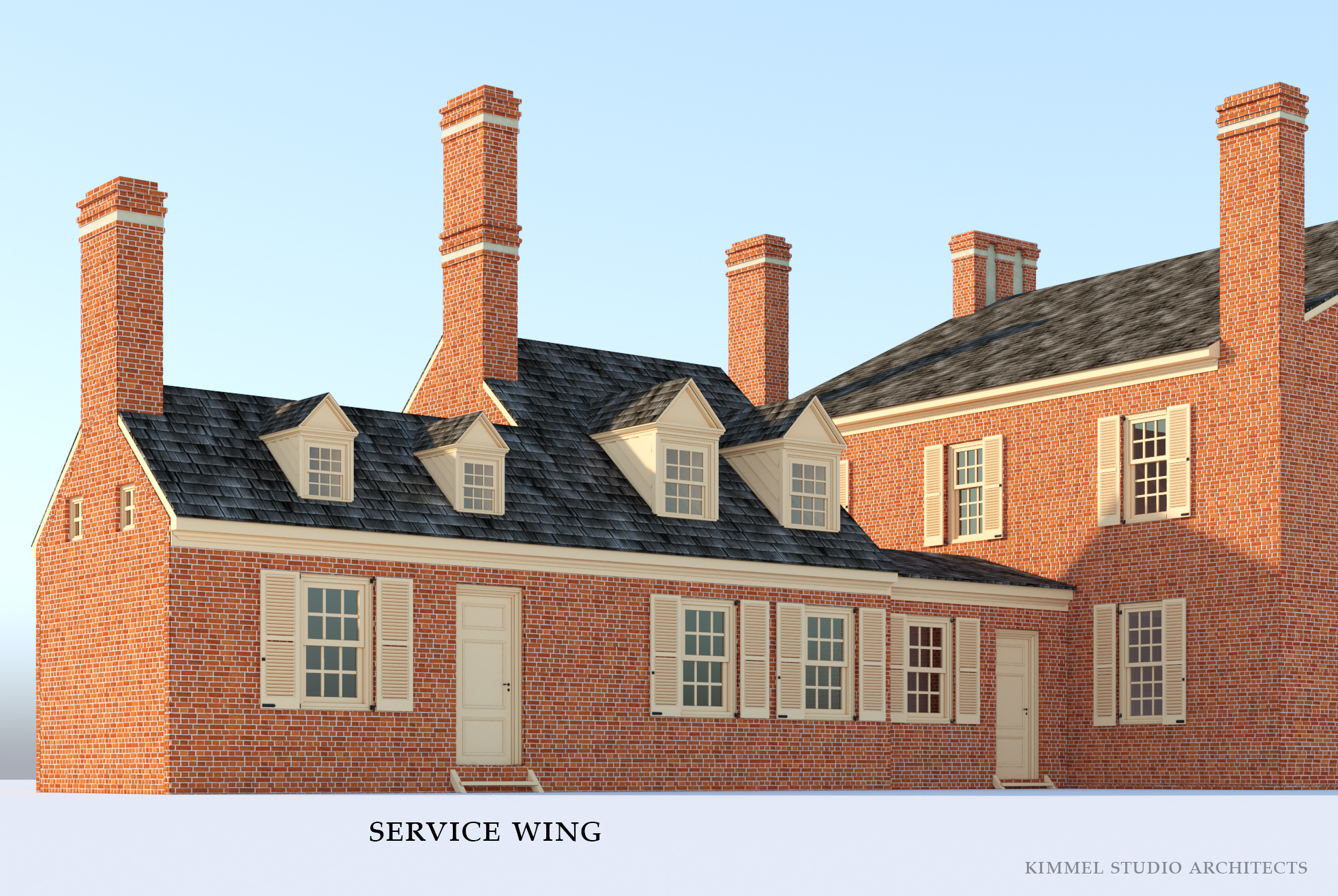 Conceptual illustration of the 1784 cloverfields service wing. It consists of a kitchen, service building, and hyphen. / Design and rendering: Kimmel Studio Architects.