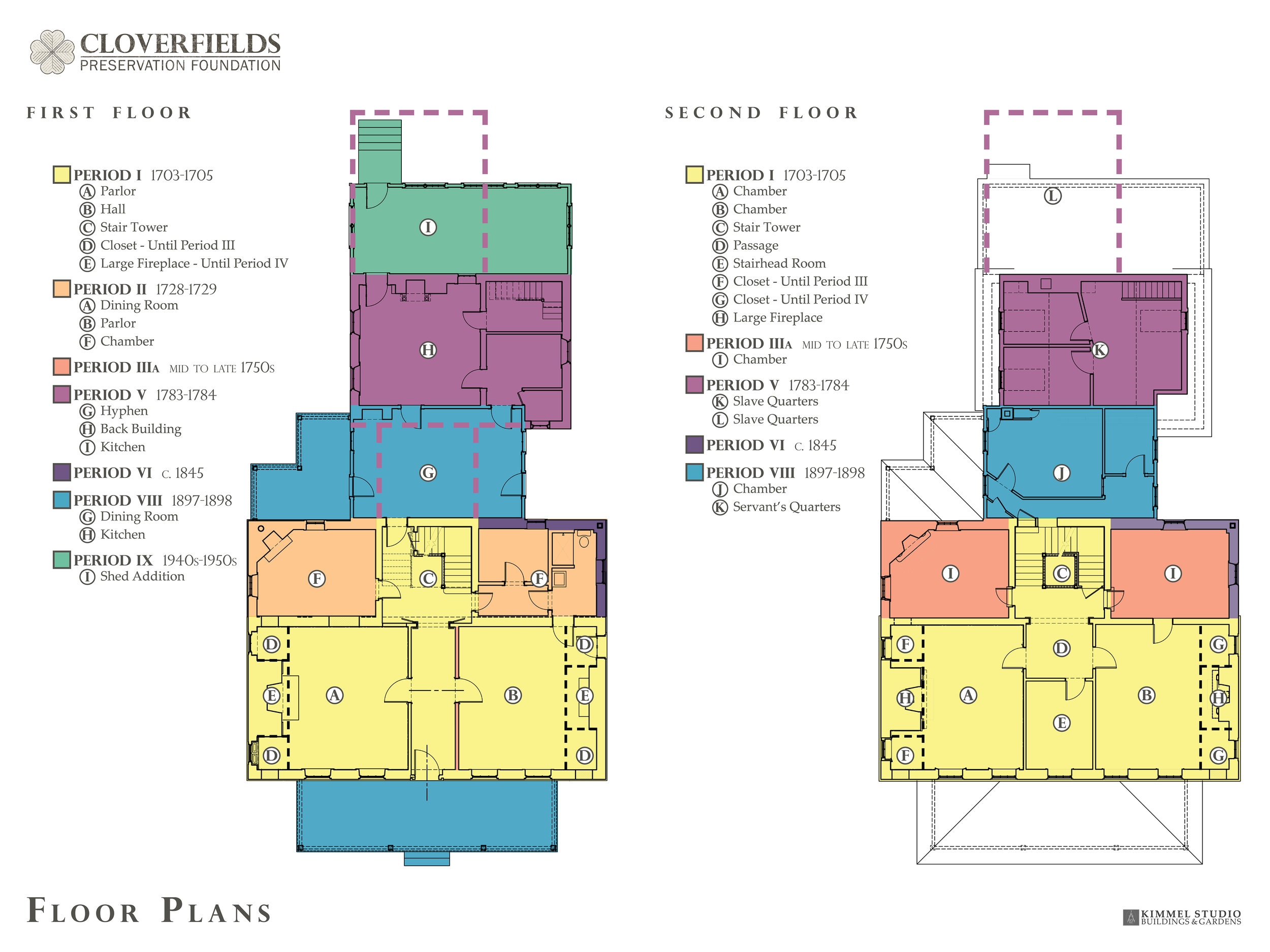 The floor plans show the evolution of the house during the different periods from 1705 to present day.