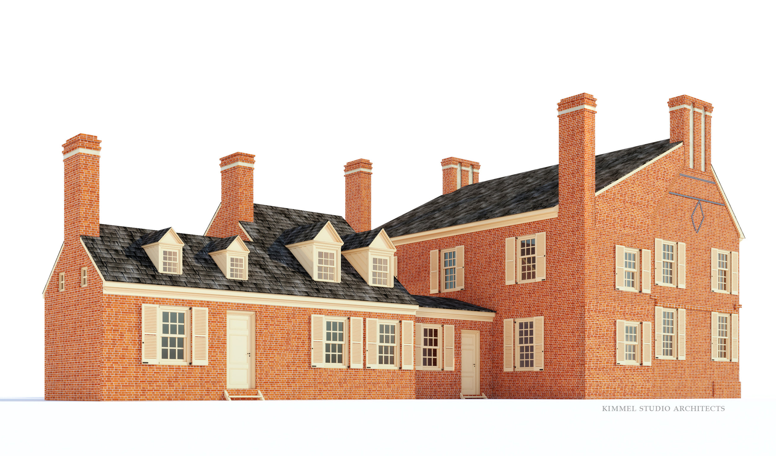 Conceptual 3D model of the service wing in 1784.