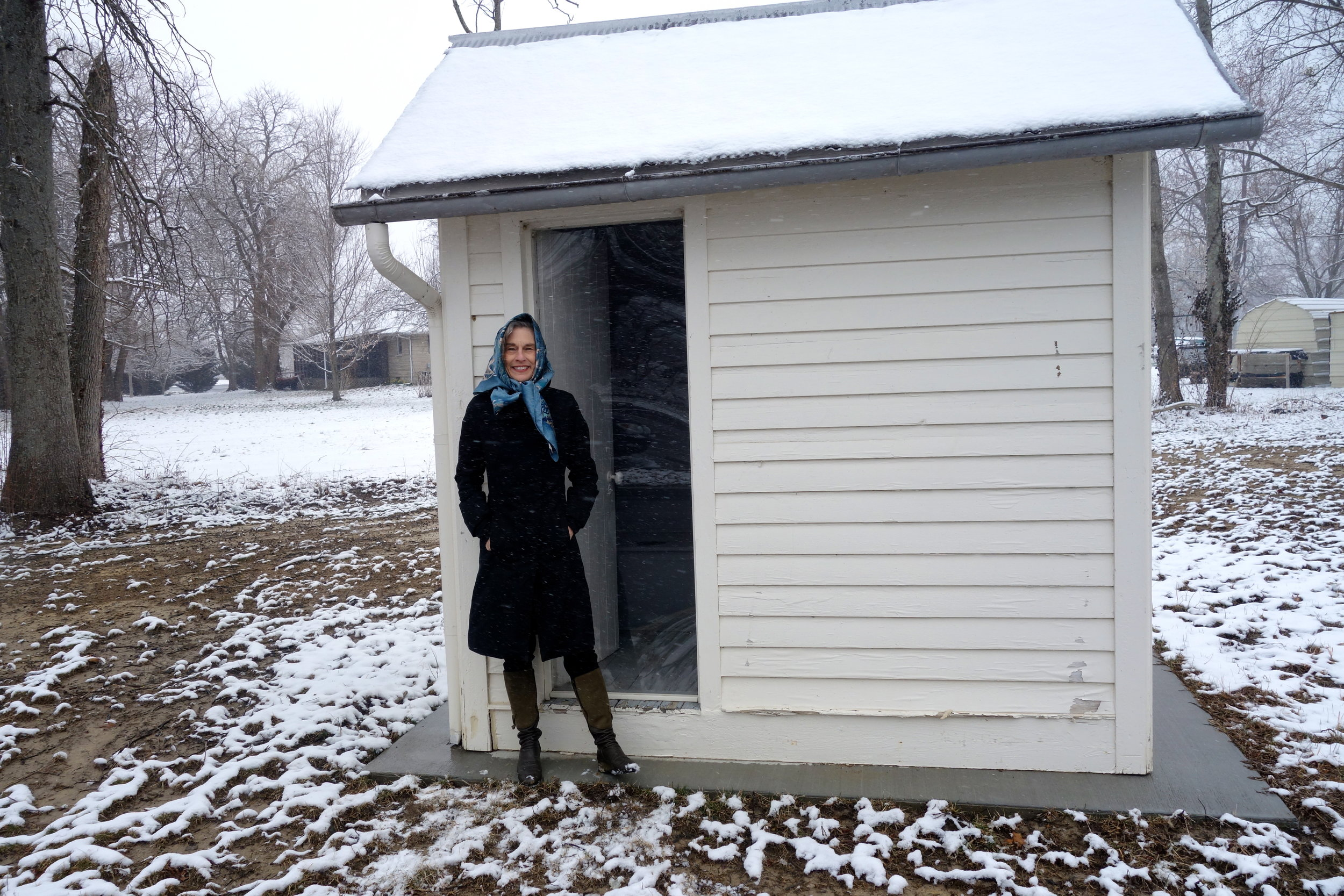 There are many restored Rosenwald schools but, as far as I know, only one restored outhouse (though this was a feature of all the schools). Here I am checking it out in Sadieville, Kentucky.