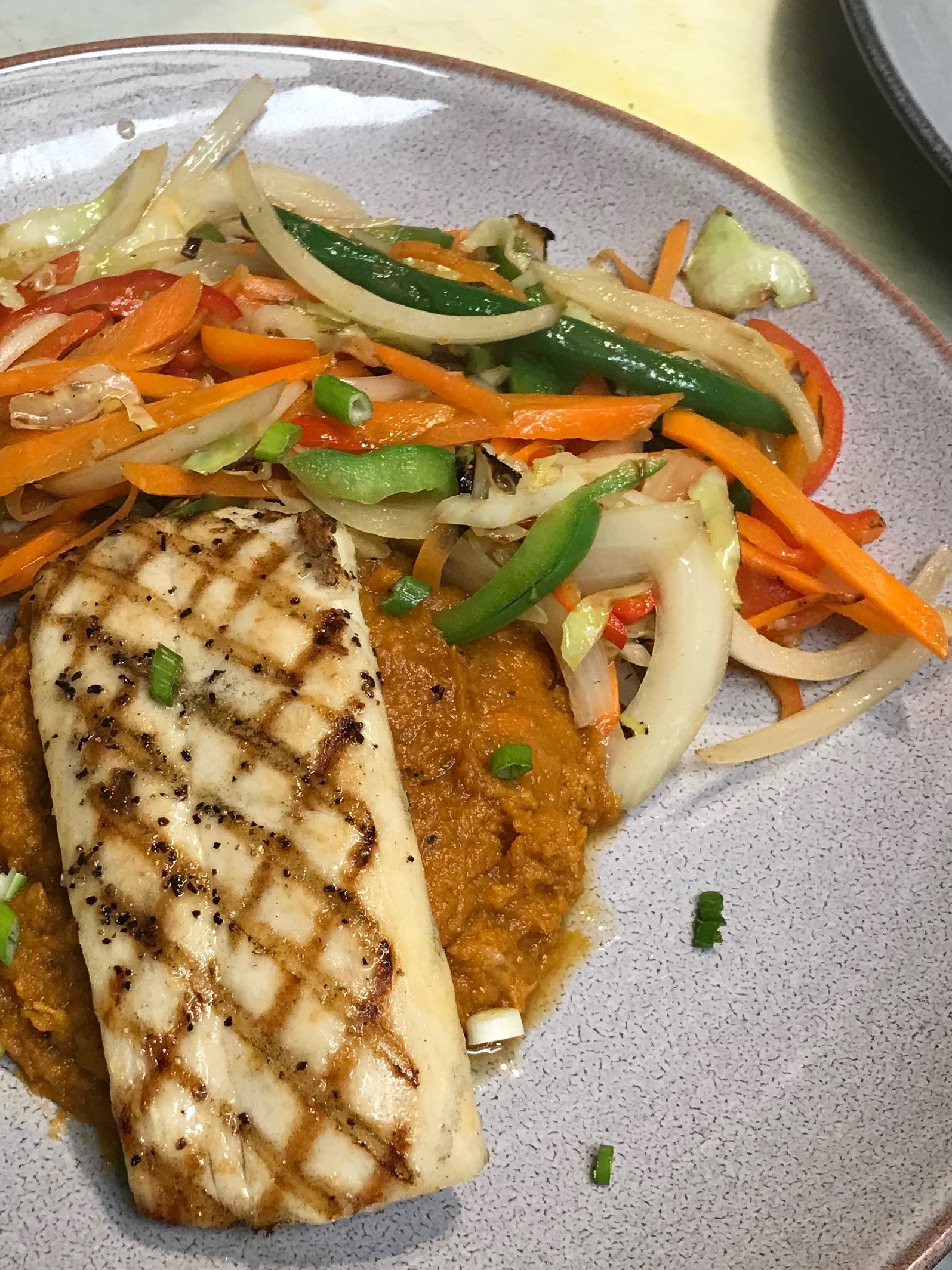 Mahi with sweet potato mash and stir fried vegetables