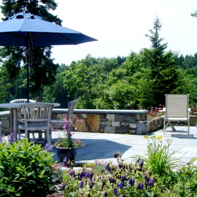 Boothbay Patio and stone wall