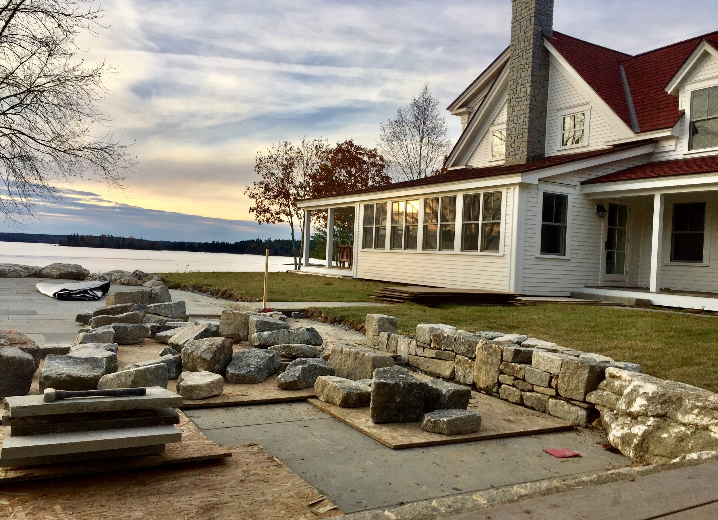 stone wall in boothbay