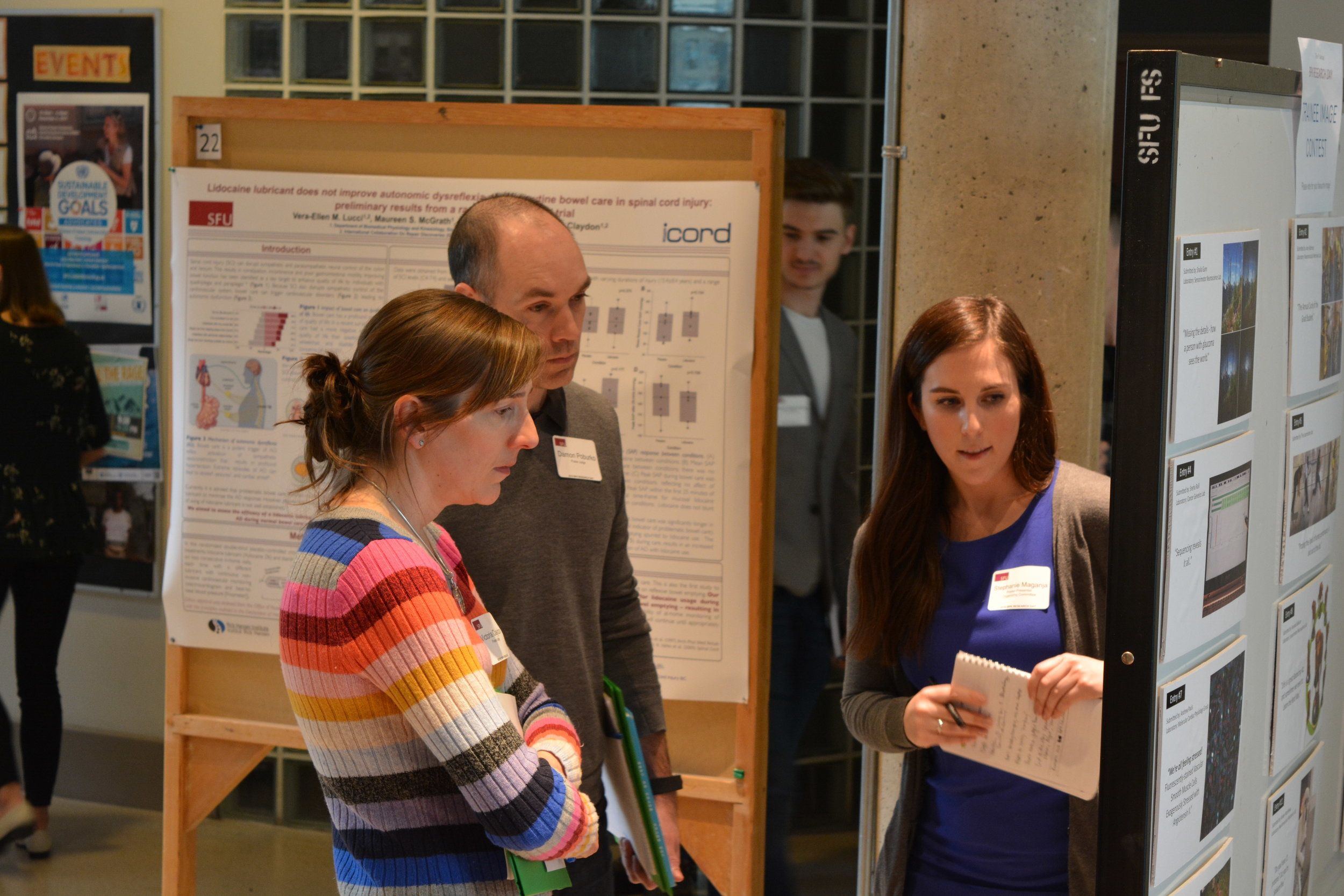 Stephanie presenting during the poster competition, Research Day 2018