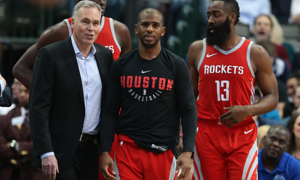 D'Antonio with Rockets' All-Star backcourt of Chris Paul and James Harden