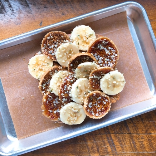 Fig Toast w/ bananas, hemp seeds, almond butter & a honey drizzle