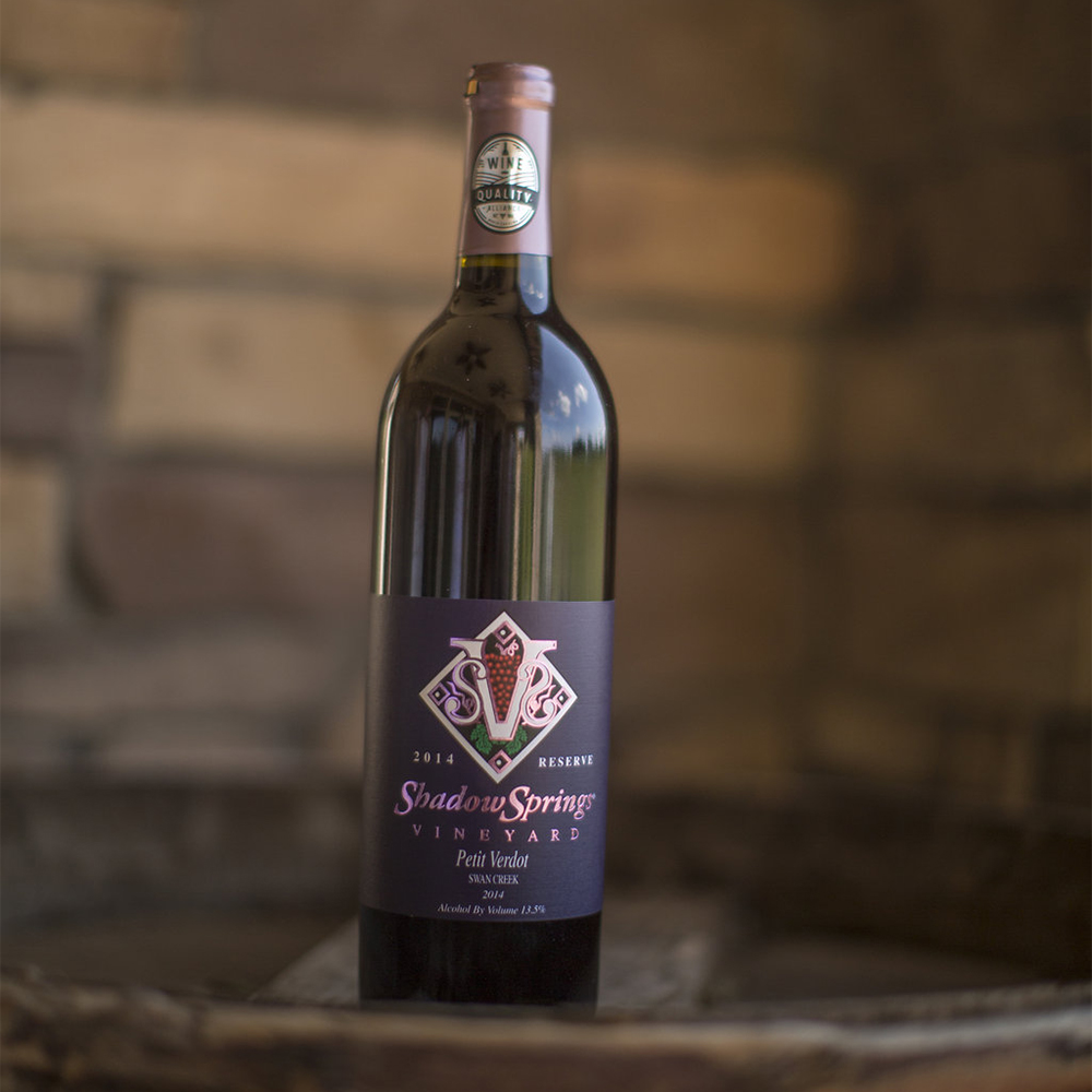 '14 Petit Verdot   $35  This 100% petit verdot has flavors of plums and cherries. With 2 years in premium oak barrel, it displays a good balance between fruit and oak flavors