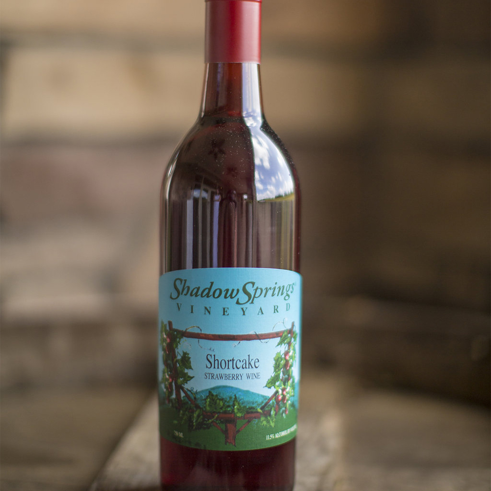 Shortcake  $17  This strawberry wine is light and refreshing. With 11% alcohol and a sweet taste it's the perfect summer wine any time of the year