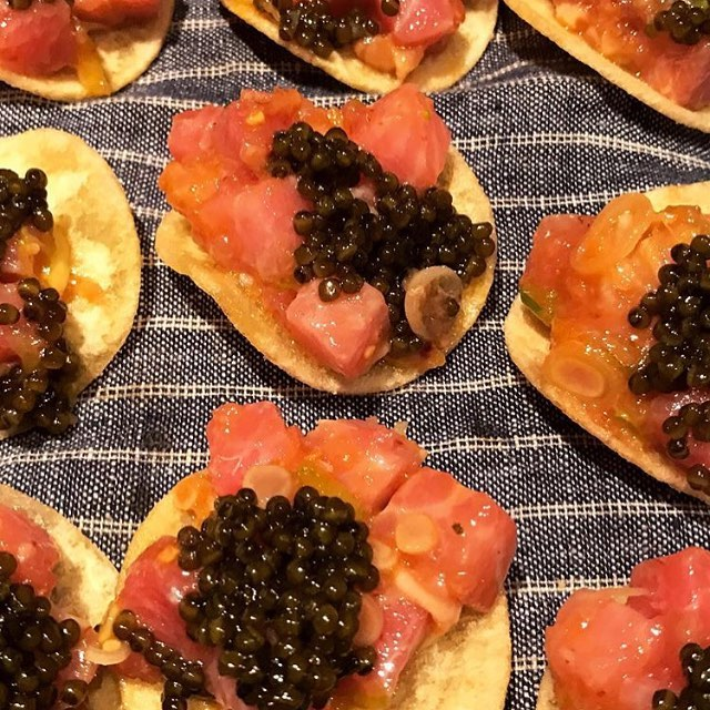 Chic snacks from @ignaciomattos and @chefjeremiahstone at last night's #cookgathergive kickoff!