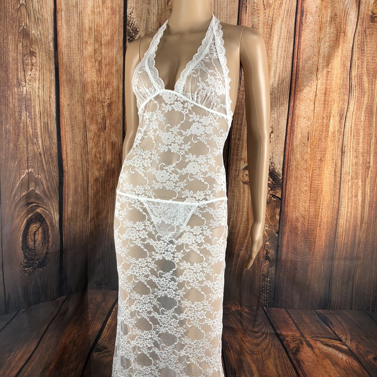 Glamorous Gabby White Lace Gown - Help her feel extra sexy in this amazing lace gown! The Glamorous Gabby features scalloped lace trim, triangle cups, adjustable halter ties, dramatic back train and lace T-back. Includes matching lace g-string panty.