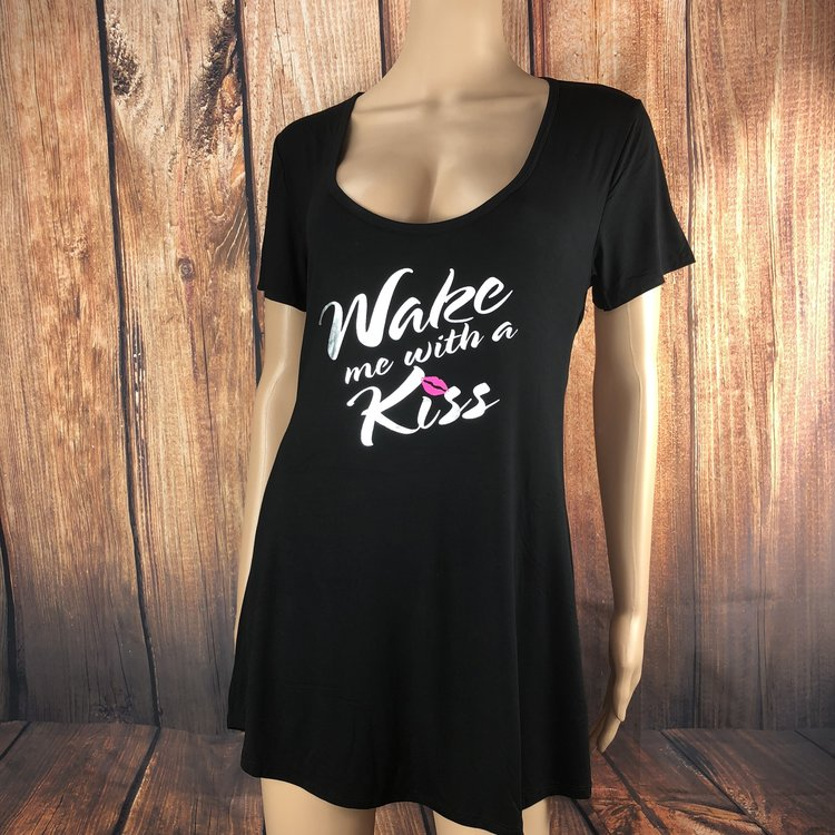 Mild - Option 2 - This super sexy nightshirt will remind your husband to always wake you with a kiss! It features a jersey-style open back and super soft cotton spandex.