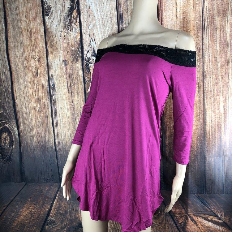 Mild - Option 1 - Rest comfortably while feelings sexy in this soft cotton and spandex jersey tunic. It features a stretch lace neckline. 3/4 length sleeves and shirt tail hem. Tunic can be worn on or off the shoulders.