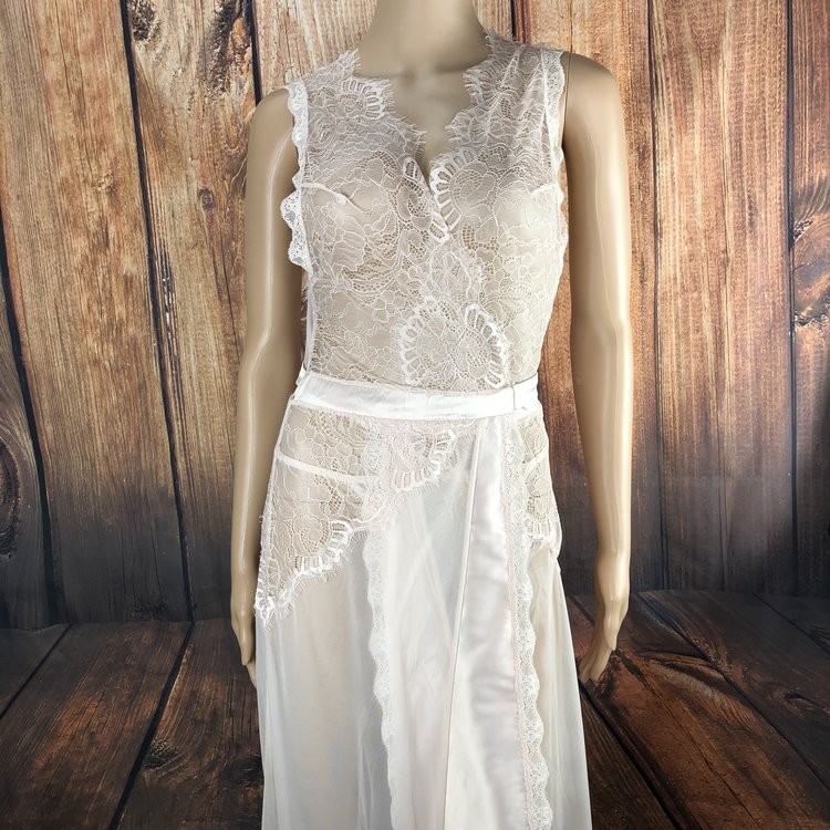 Laurel Sheer Eyelash Gown - This luxurious, pale pink sheer duster features an eyelash lace neckline and adjustable, satin waist tie.