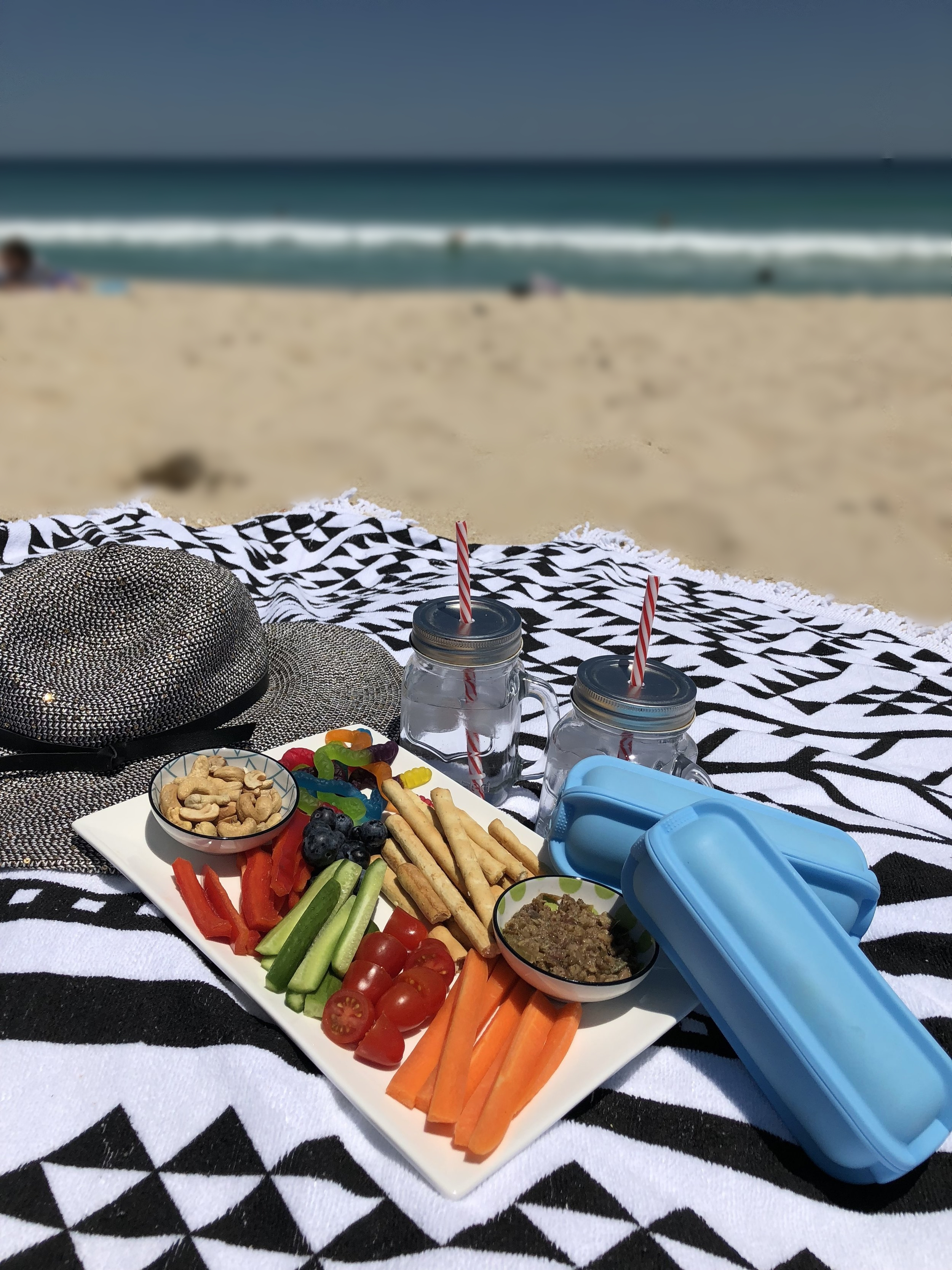 A Wrap'd lunch at the beach, followed by tasty snacks for the afternoon.