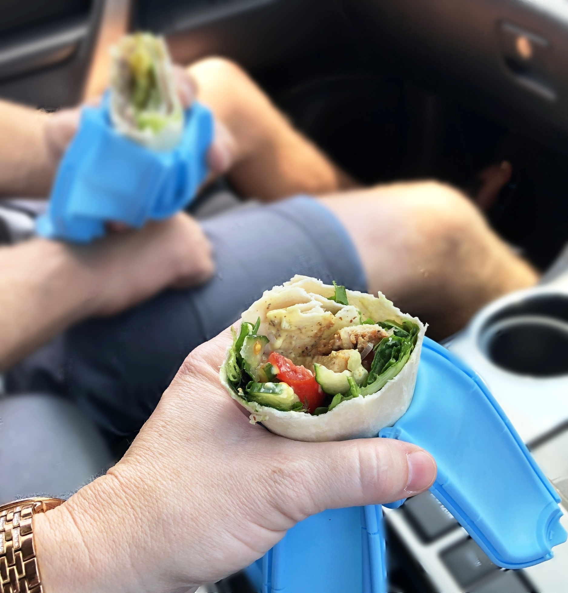 Wrap'd in the car, on the go.