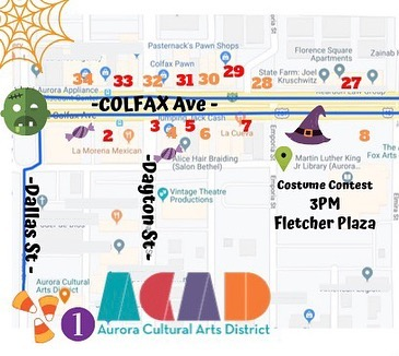 Trick or Treat Street map! 🕷Oct 26th 12pm- 3pm visit the listed locations for 🍬 candy and treats!!! Swipe for locations! 🎃👀Visit our Instagram page to see both sides of the map! #acadtrickortreat #auroracolorado #freedenverfun! #halloween2019 #denverhalloween #trickortreatdenver #acad #halloween