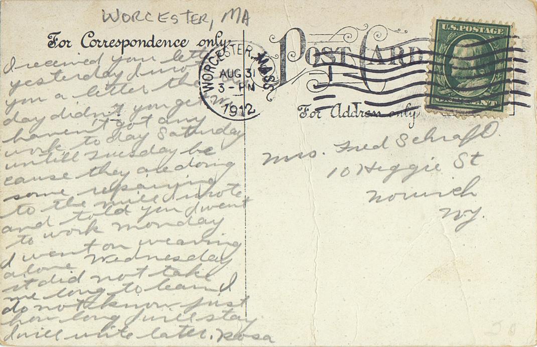 Postmark: 08/31/1912 - Worcester, MA