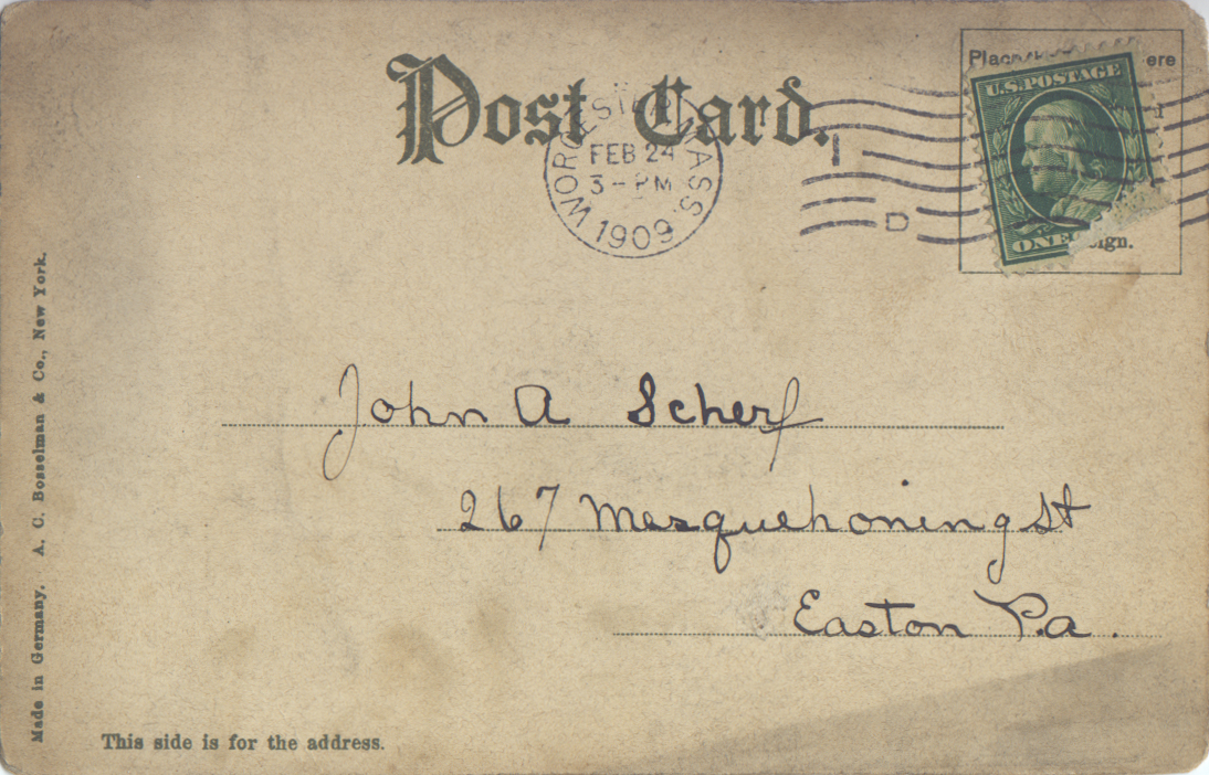 Postmark: 02/24/1909 - Worcester, MA