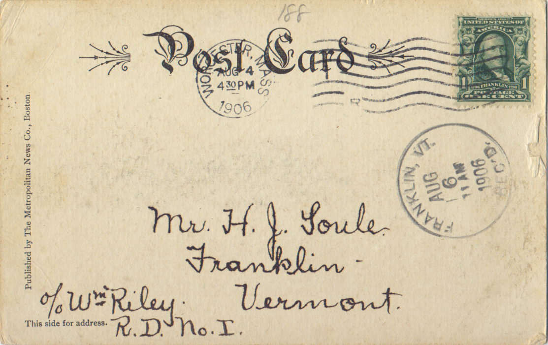 Postmark: 08/04/1906 - Worcester, MA
