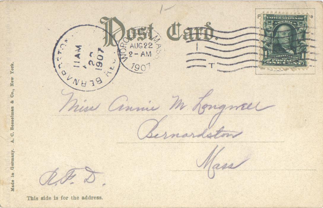 Postmark: 08/22/1907 - Worcester, Mass.