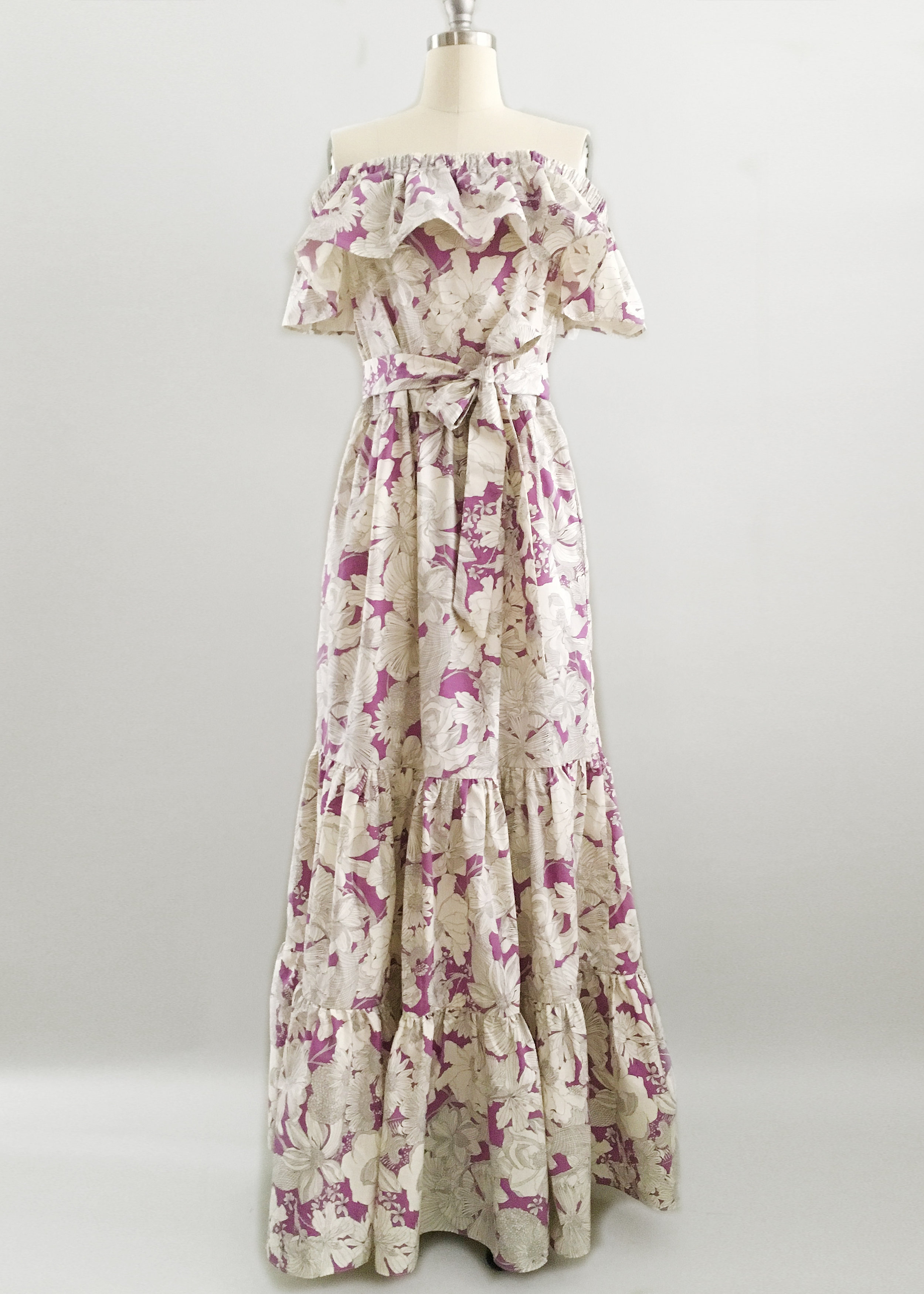 Liberty Print Cotton Fabric Off the Shoulder Tiered Maxi
