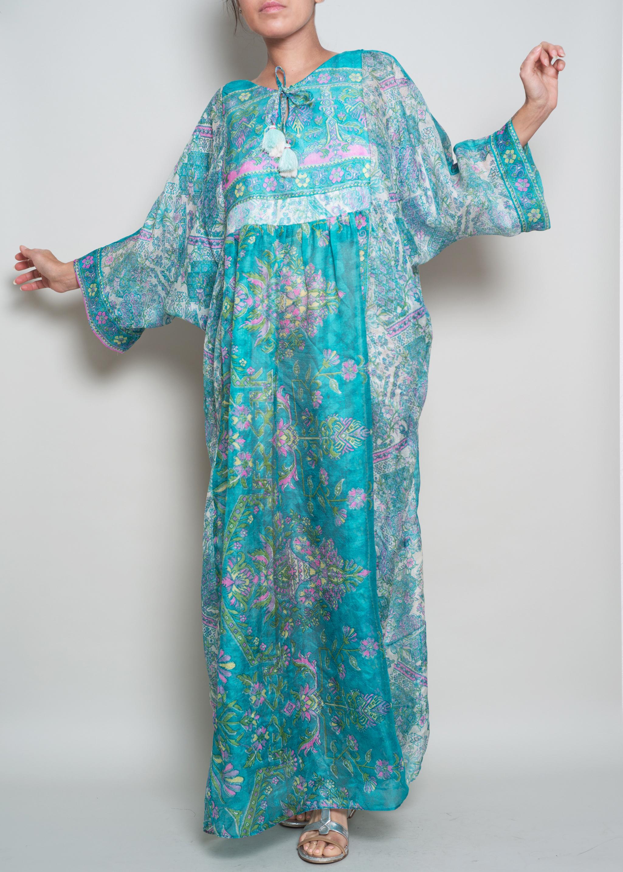 EVA Sheer Sari Caftan Dress $345