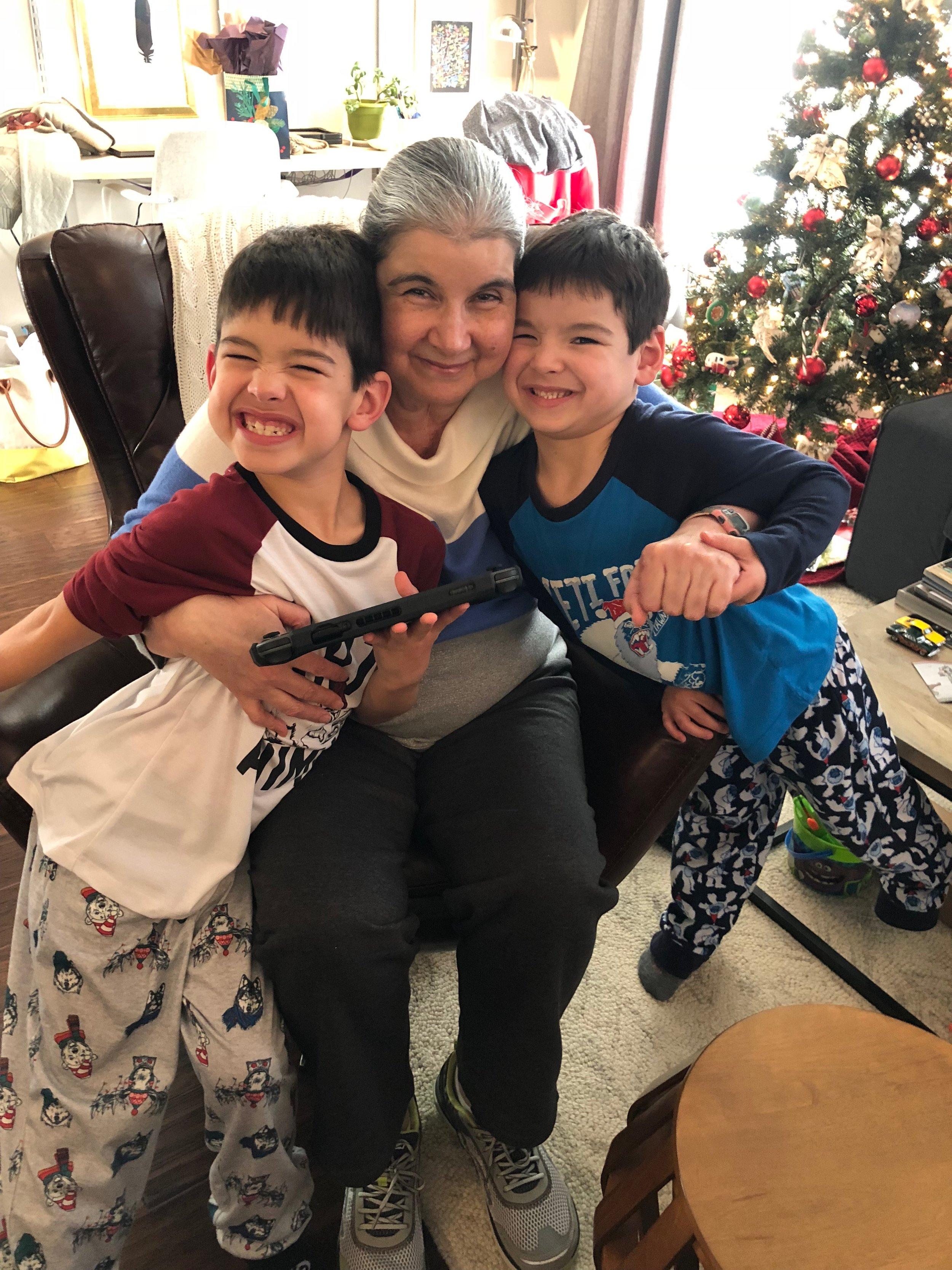 Will, Beba (grandma), Stevie on Christmas Day, 2017