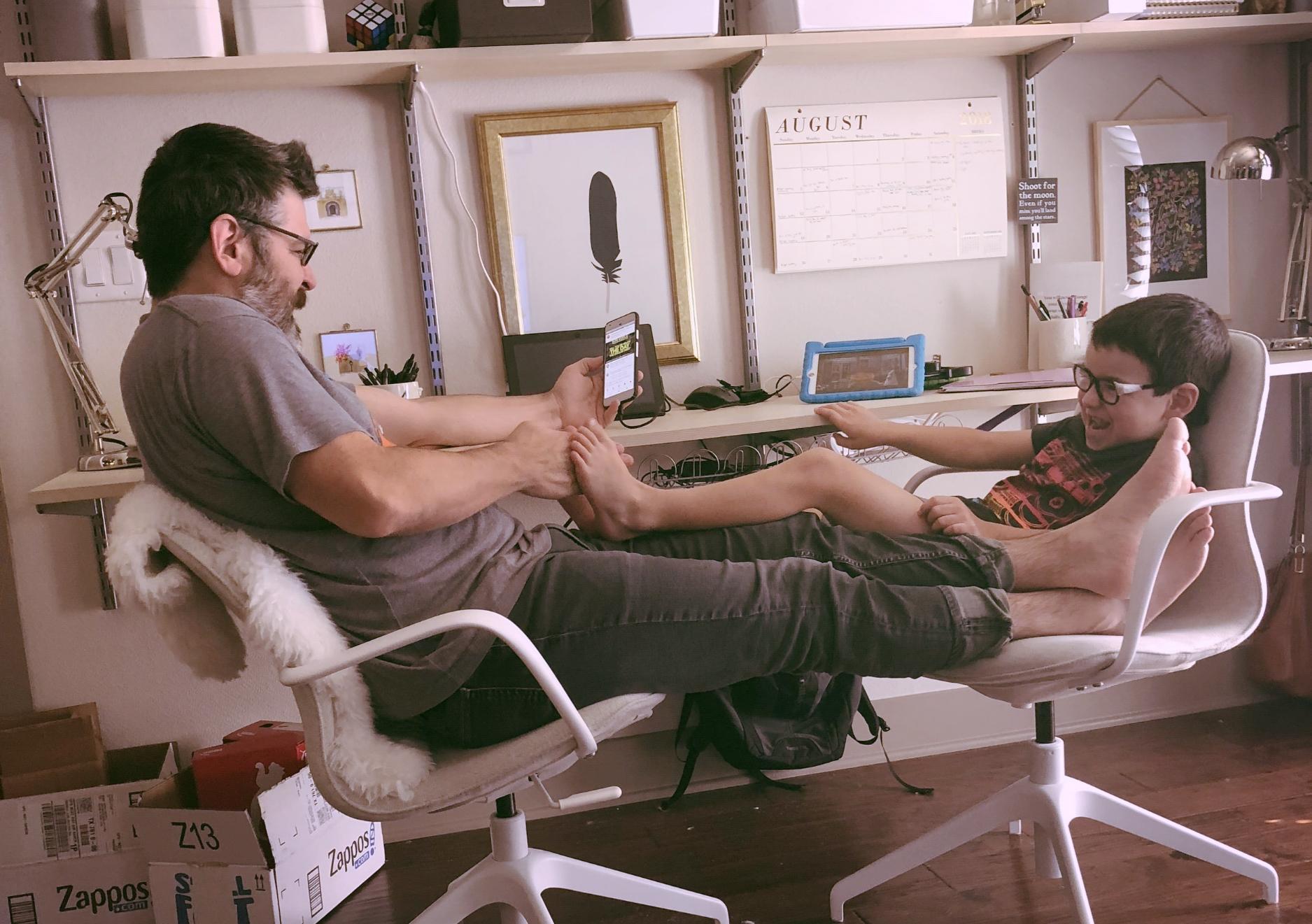 Sensory input... Stevie LOVES his feet tickled!