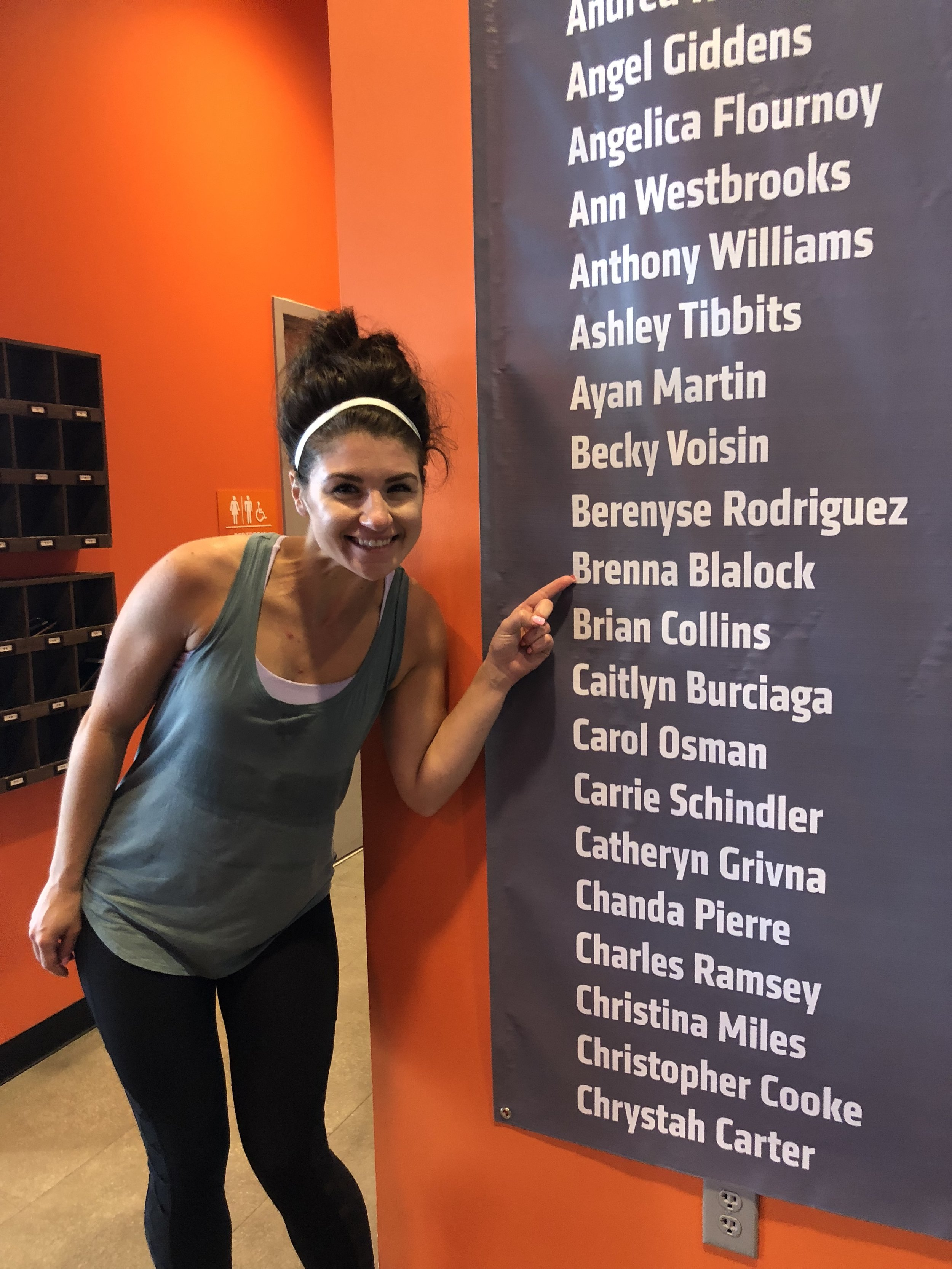 OTF Spring just celebrated their 1st birthday and made a giant banner with everyone who had done 100 classes or more! So cool.