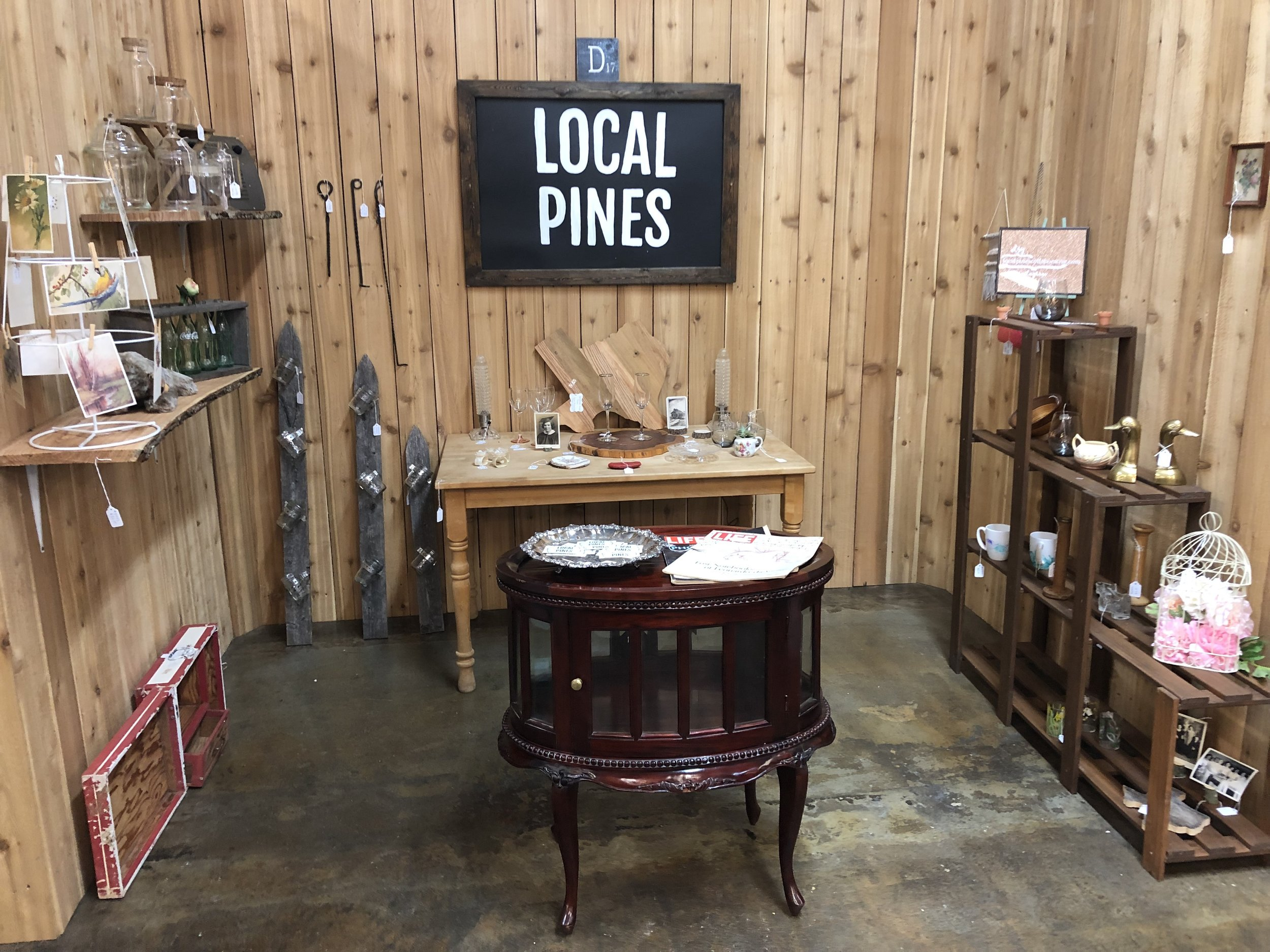 ramble and rove - local pines collaborative - painted tree - vintage market - woodworking space - local pines