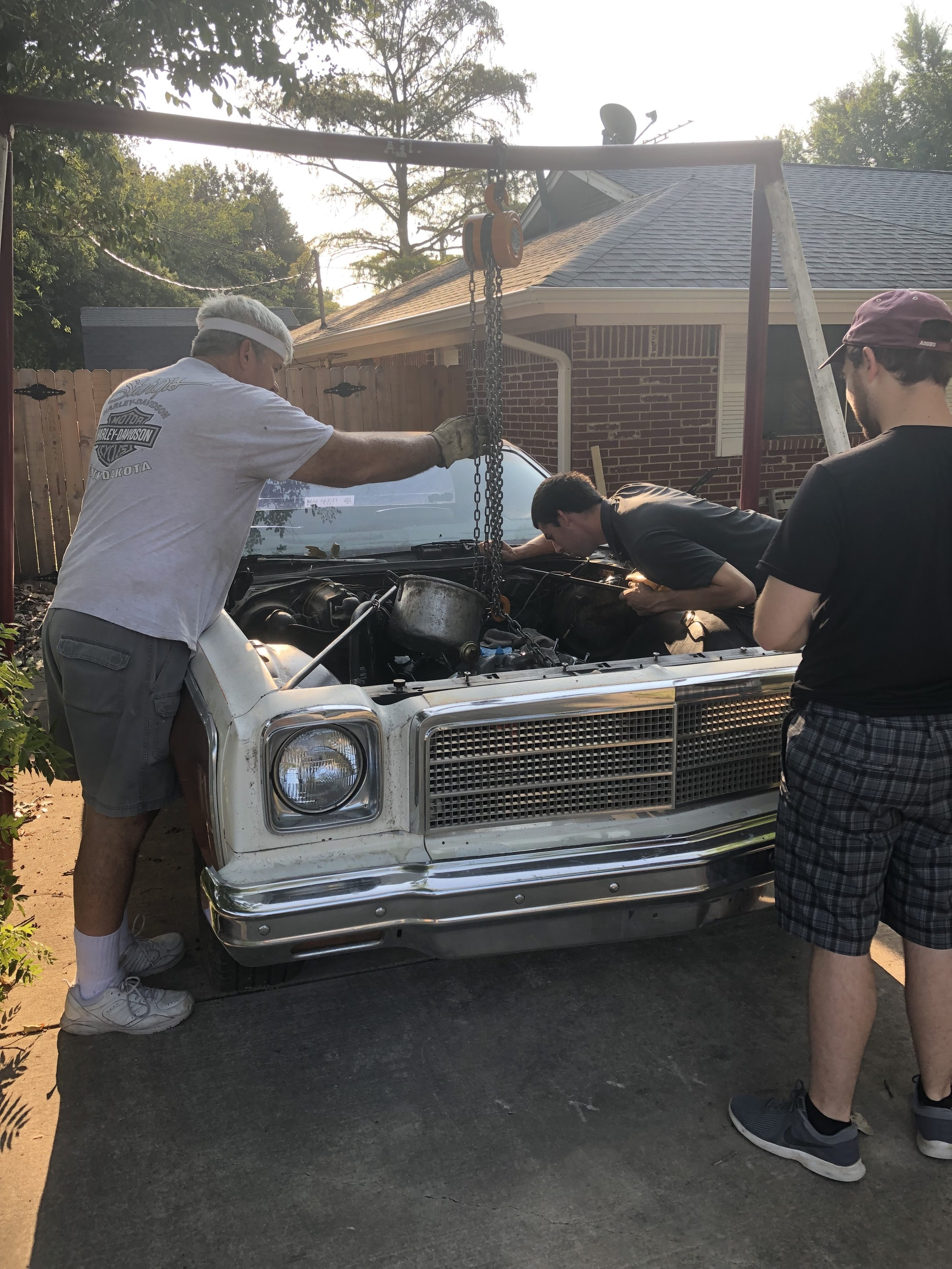 Jason ditched me one Saturday morning to help our friend but the engine back in his car.