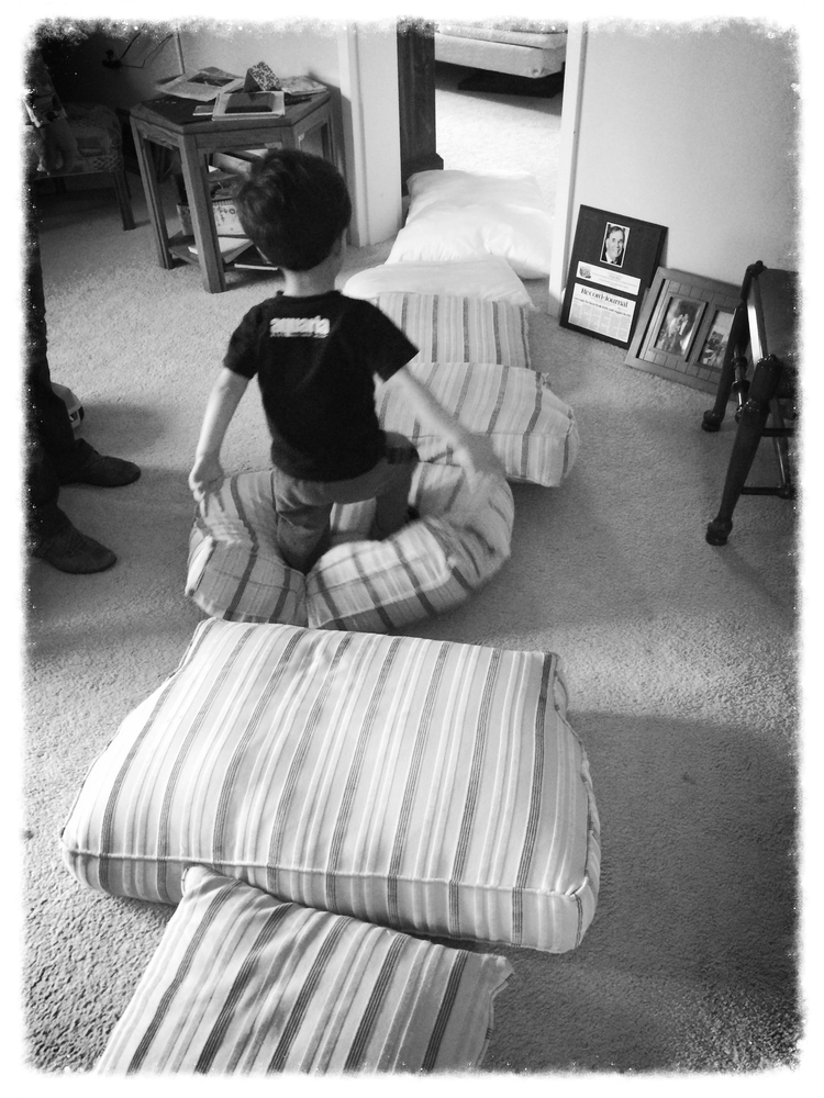 "My boy playing ""bouncy bounce"" at Grandma's house."