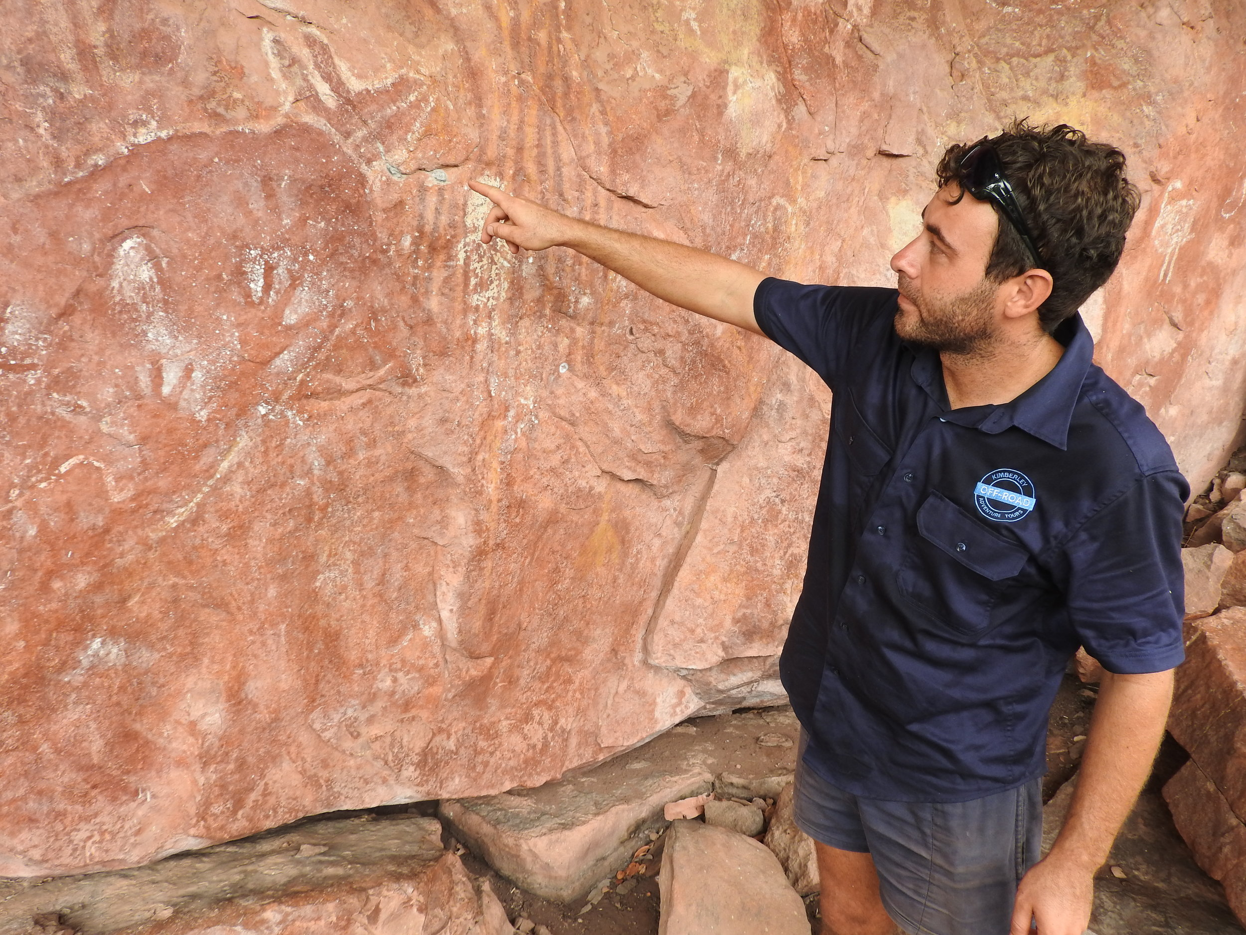 Adam explaining the history of rock art in the Kimberley