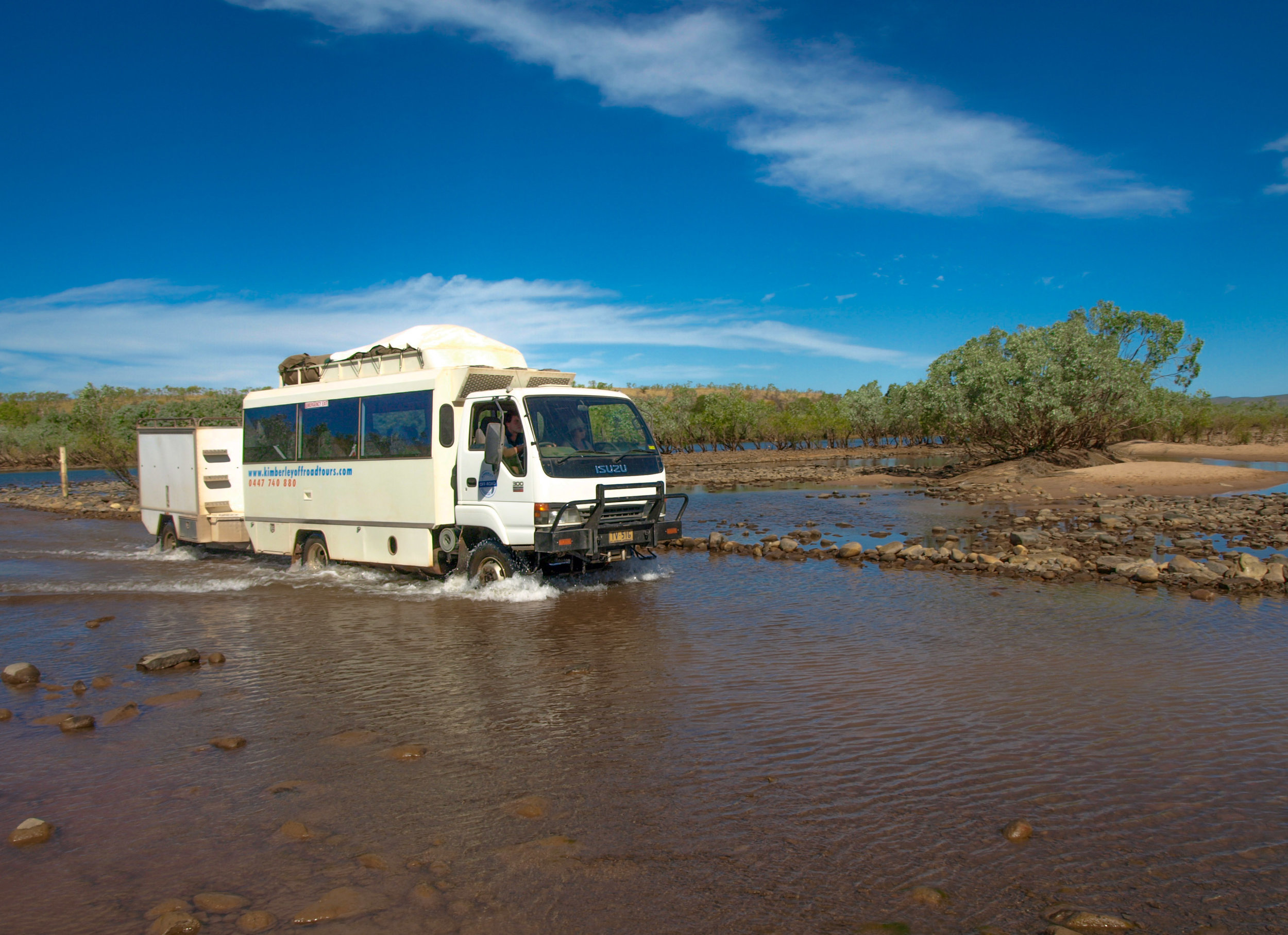 Our Kimberley truck crossing the Pentecost River on the Gibb River Road