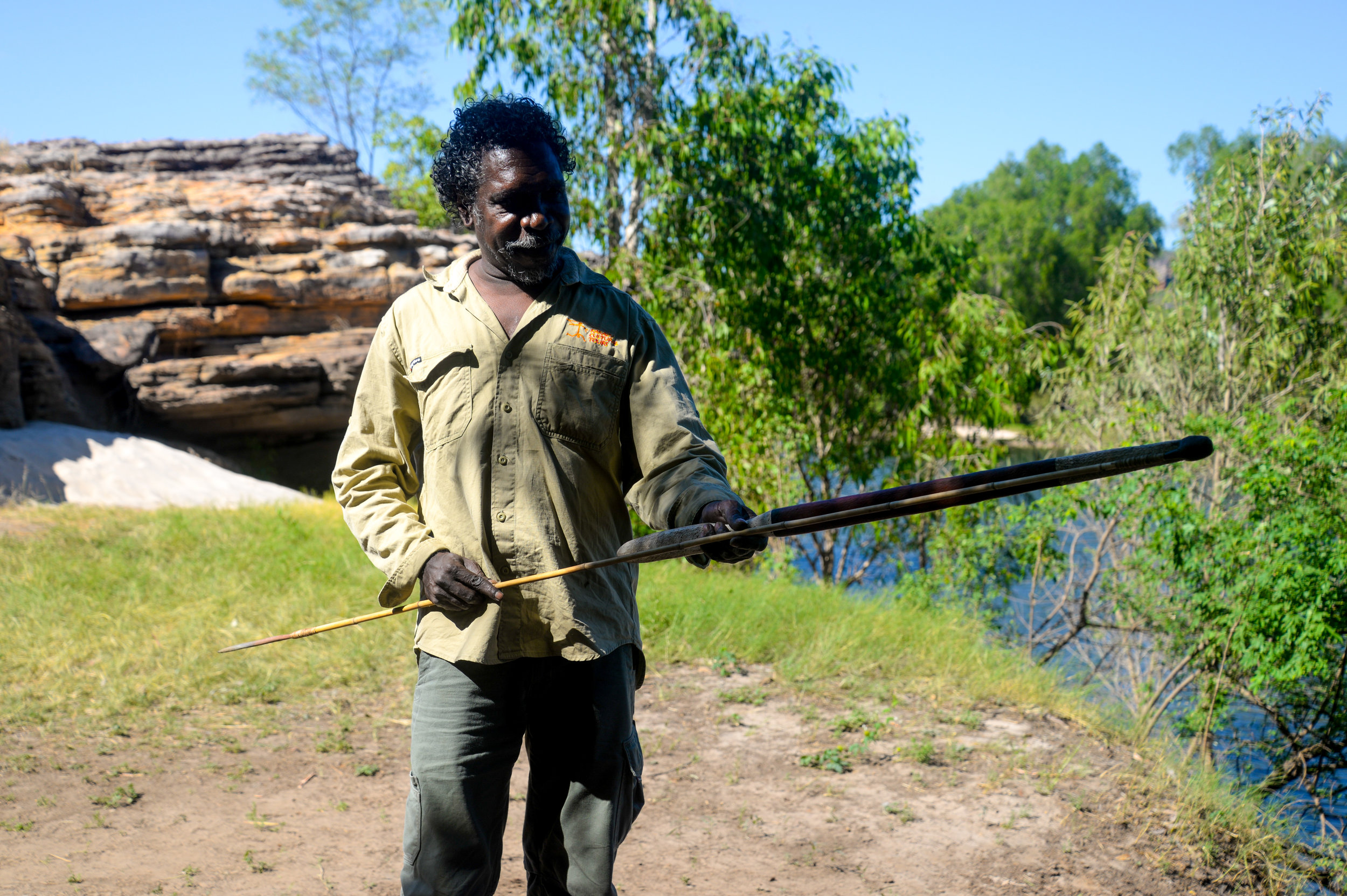 Neville from Guluyambi Cultural Cruise with a spear